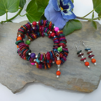 Multi Colour Dyed Mother of Pearl bracelet & earing Set