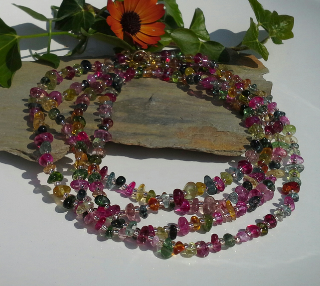 "Multiple Colour  Quartz 58""  inch  Necklace & Earrings  Gold Plated"