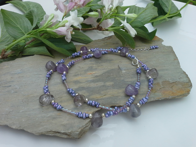 Genuine Amethyst & Seed Bead Necklace