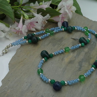 Genuin Rare Green Lapis Lazuli, Quartzite & Glass Beaded  Silver Plated Necklace
