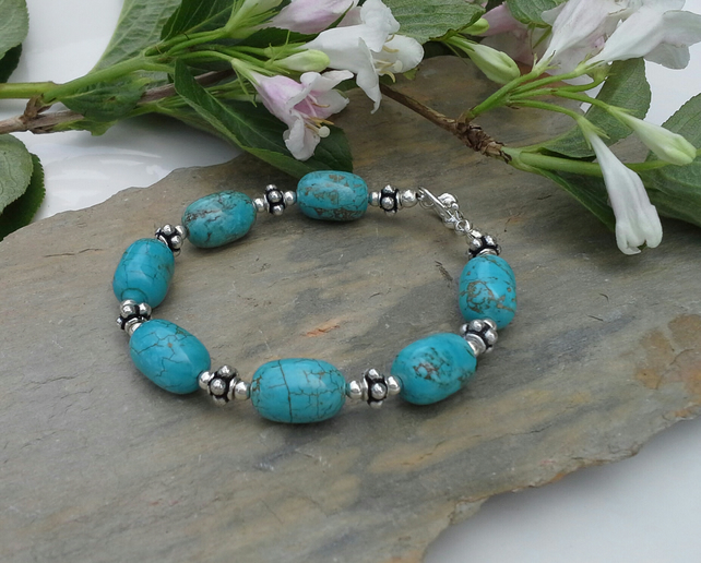 Genuine Howlite Turquoise colour Silver Plated  Bracelet