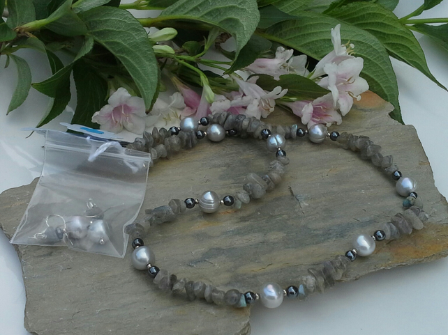 Labradorite , Genuine Pearls and Heamotite sterling silver necklace set