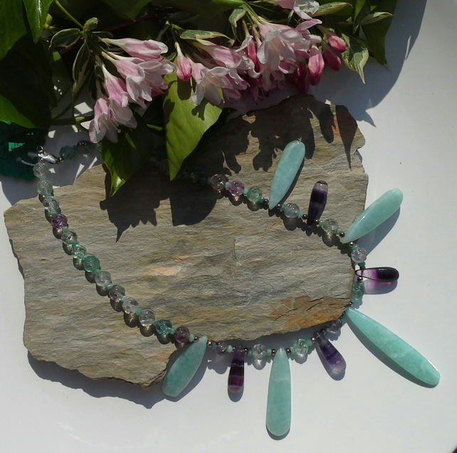 Amazonite, Emerald  & Florite Sterling Silver Necklace