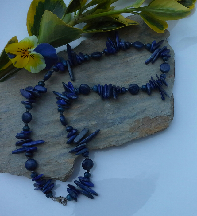 Unique Lapis lazuli  Sterling Silver Necklace