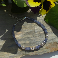 AA GRADE Genuine Tanzanite 925 Sterling Silvet Bracelet  (something blue)