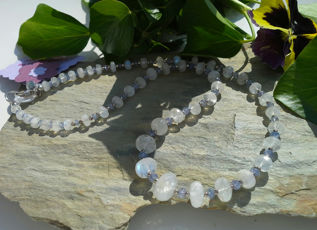 Sri Lanka Moonstone & AA Grade Tanzanite Sterling Silver Necklace