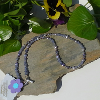 Tanzanite & Freshwater Pearl Sterling Silver Necklace