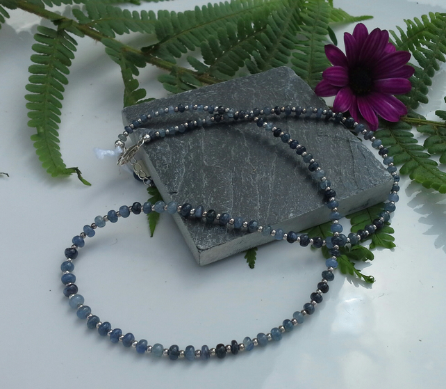 Shades of Genuine Blue Sapphire sterling silver necklace