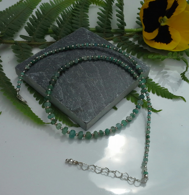 Shades of Genuine Emeralds Sterling Silver Necklace