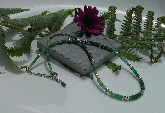 Genuine Faceted Emerald Necklace 925 Sterling Silver