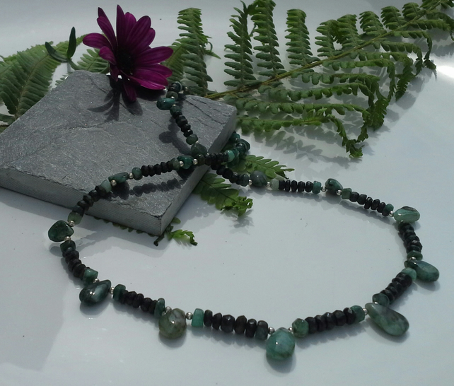 Genuine Natural Untreated Emerald Sterling Silver Necklace