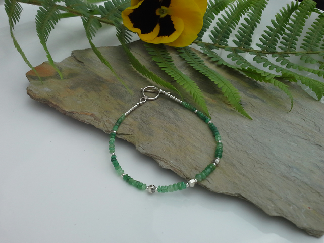 Genuine Emerald Bracelet Sterling Silver