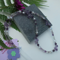 Amethyst  Fresh Water Pearls & Florite 925 Sterling Silver Necklace Set