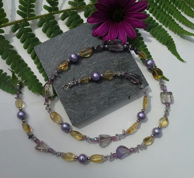 GENUINE Amatrine,  Freshwat Pearls, Citrine  & Amethyst Sterling Silver Necklace