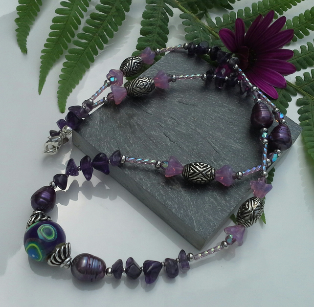 Fresh Water Pearl,  Amethyst,  Hand Made Clay Bead Silver Plated Necklace