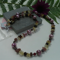 Rhodolite & Red Garnet,  Freshwater Pearls, Citrine Sterling Silver Necklace
