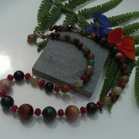 Genuine Faceted Agate & Carnelian Sterling Silver Necklace