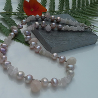 Morganite & Freshwater Culture Pearl Sterling Silver Necklace