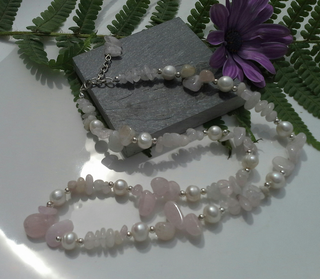 Morganite & Freshwater Pearl Sterling Silver Necklace