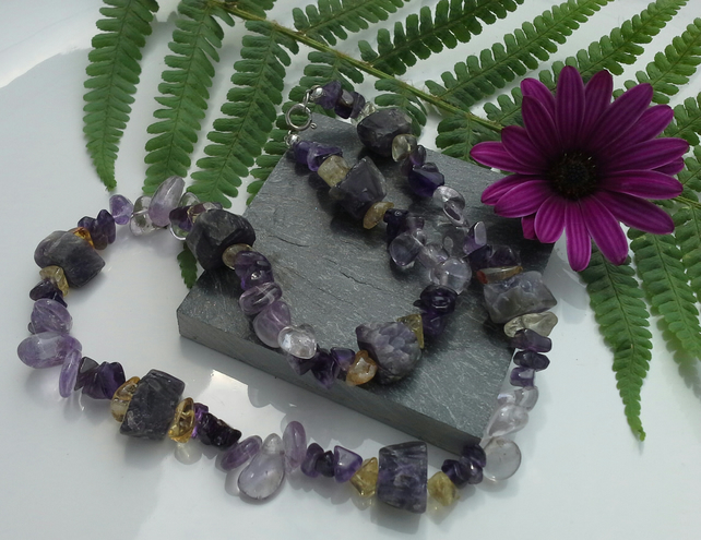 Amethyst & Citrine Sterling Silver Necklace