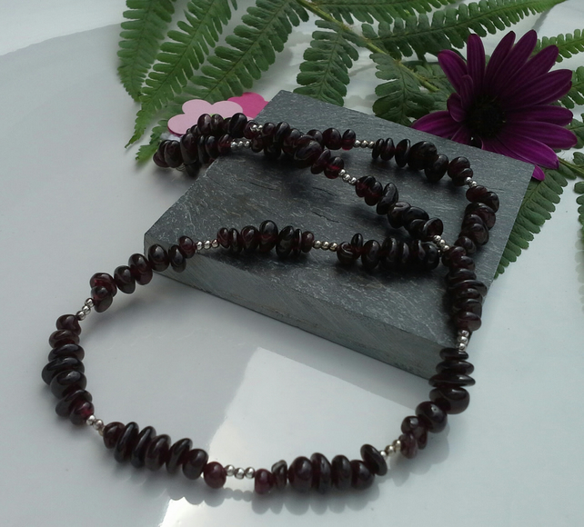 Indian Red Garnet Sterling Silver Necklace