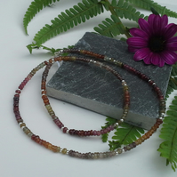 Mixed Fancy Sapphires, mixed Garnet. Mixed Spinel Sterling Silver Necklace