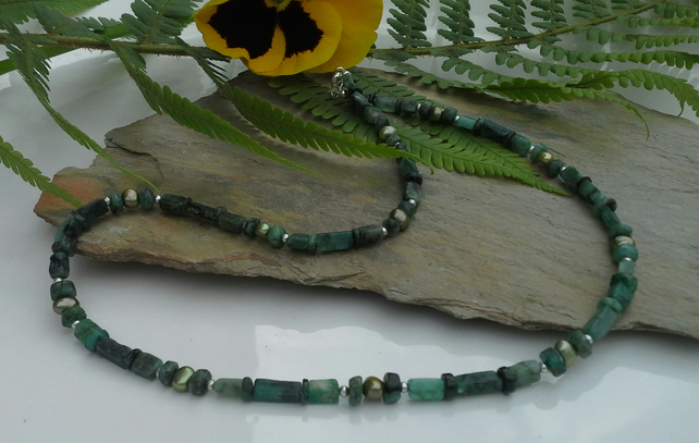 Emerald & Freshwater Pearl Sterling Silver Necklace