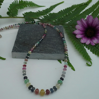Genuine Multicoloured  Sapphire necklace 925 Sterling Silver