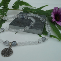 Genuine White & Gray Quartz Sterling Silver Necklace