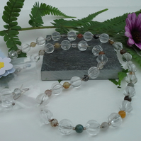 Carved  Clear Quartz and Multicoloured Quartz Necklace & Earrings Set
