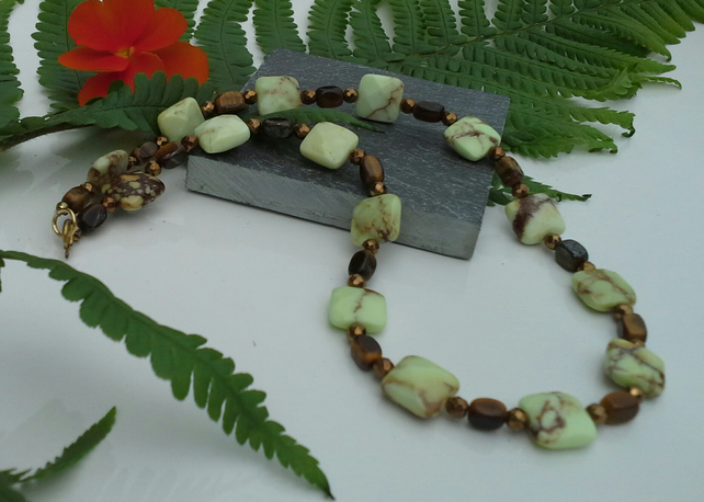 Gold Vermeil Lime Jasper, Tigers Eye & Haematite Necklace