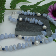 Blue Lace Agate & Freshwater Pearl,  Faceted Blue Agate Sterling Silver Necklace
