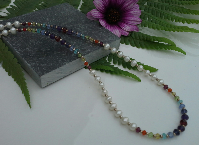 Freshwater micro Pearl & Multi Gemstone Sterling Silver Necklace and Bracelet