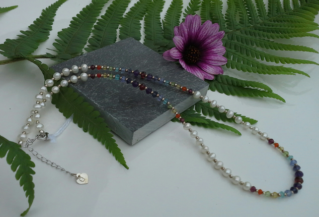 Ivory Pearls & Multi Faceted Gemstone Sterling Silver Necklace