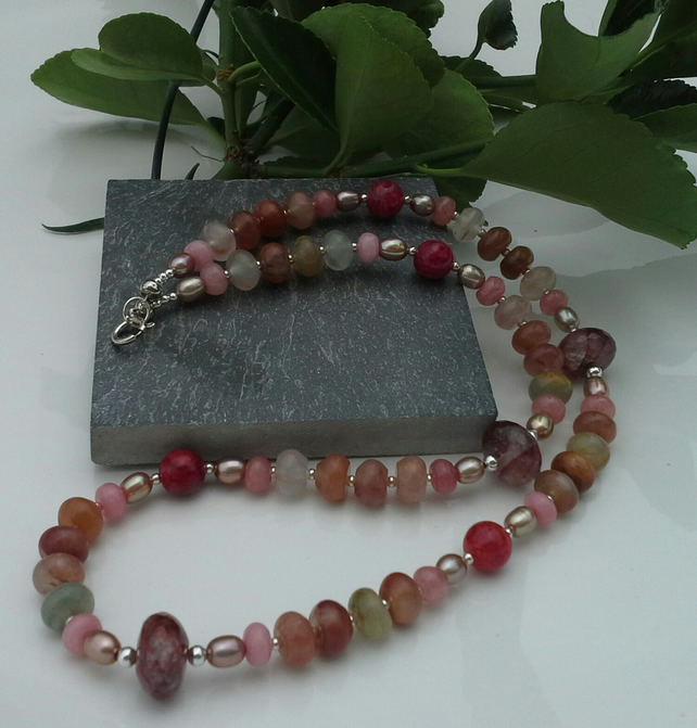 Multi Coloured Quartz, Freshwater Pearls & Quartzite Sterling Silver Necklace