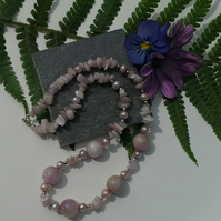 Genuine Kunzite & Freshwater Pearl Sterling Silver Necklace