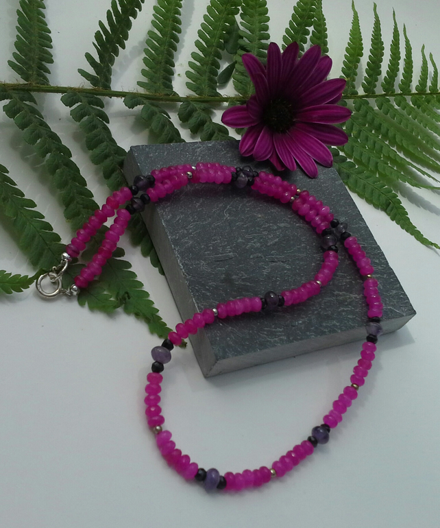 Pink Quartzite, Amethyst & Black Spinel Sterling Silver Necklace