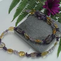 Ametrine , Amethyst & Citrine Sterling Silver necklace