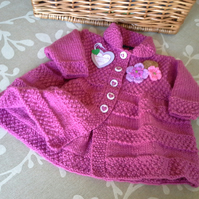 Baby Girl's Long Knitted Coat -Jacket    0-6 months