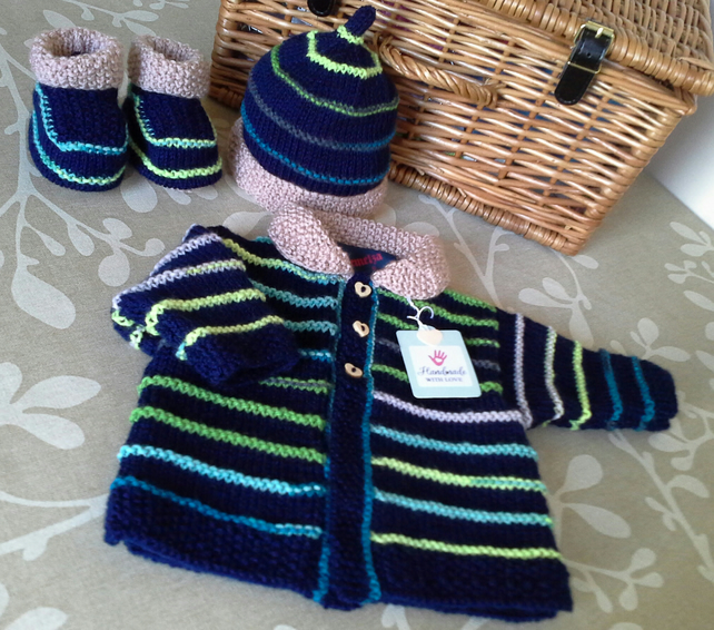 Baby Boy's Knitted Layette Set  0-6 months