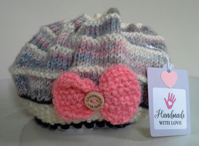 Baby Girl's Ruffled Knitted Bow Hat  3.- 6 months