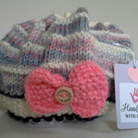 Baby Girl's Ruffled Knitted Bow Hat  3.- 6 monthss