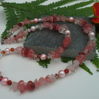 Peach Quartz,  Fire Agate, Freshwater Culture Pearl Sterling Silver Necklace