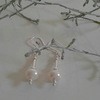 Large Freshwater Button Pearl Sterling Silver Earrings