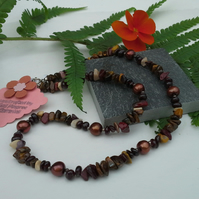Mookite,  Red Garnet, Tiger's Eye Freshwater Pearl Necklace 925 silver