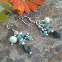Genuine Emerald and Freshwater Pearl Earrings Sterling Silver