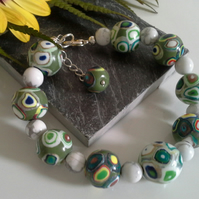Howelite & Polymer Clay Bracelet