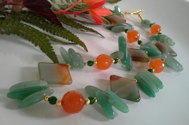 Green Aventurine & Agate Necklace Gold Plate