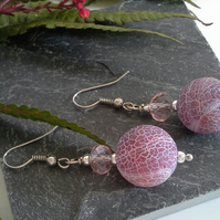 Agate & Crystal Earrings Silver Plated