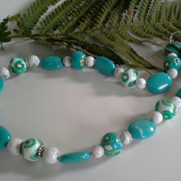 Howlite & Hand Made Polymer Clay Beaded Necklace Silver Plated